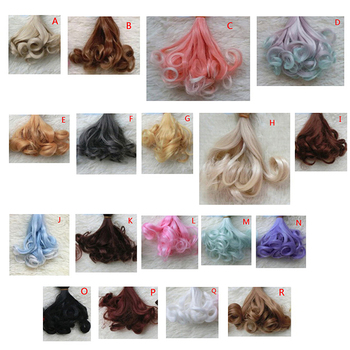 1 Pcs 15CM Handmade Doll Wigs Multicolor BJD Curly Hair High Temperature Wave Hairstyle Wig 1/3 1/4 For Doll Toy image