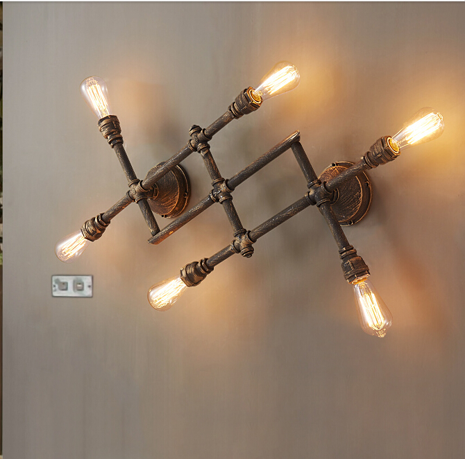 Retro Rustic Water Pipe Wall Lamp Vintage Fixtures Loft Style Industrial Edison Wall Sconce corridor wall lamp купить