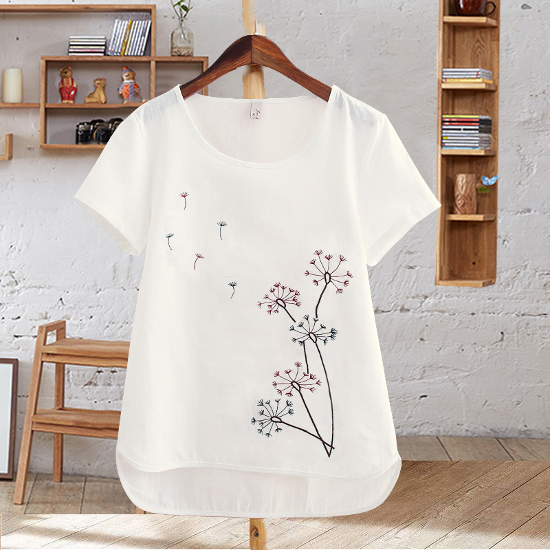 Harajuku Summer Women Tops Cotton T-Shirt Embroidered Flowers Short Sleeve White T-shirt Plus Size T Shirts Female Casual Top