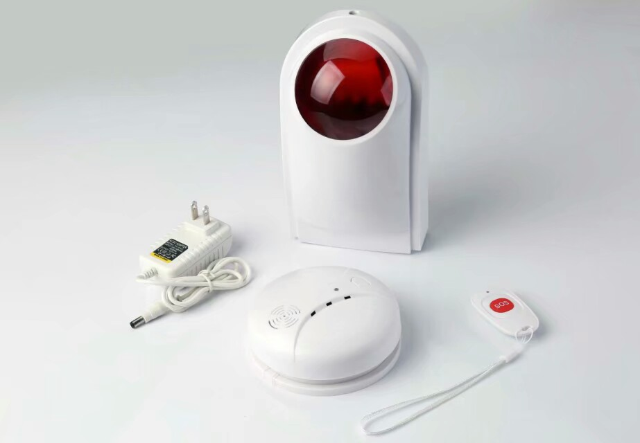 Беспроводной Shine Light STROB сирена с Детекторы дыма и кнопка SOS