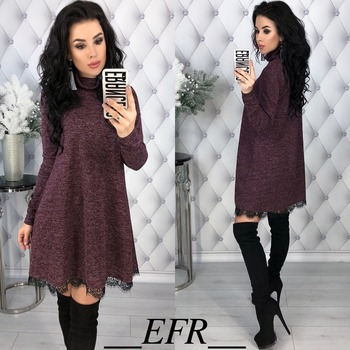 New Fashion Spring Winter Style Turtleneck Long Sleeve A-line Lace Hem Elegant Warm Dress Knitting Mini Vestidos Pluse Size 4