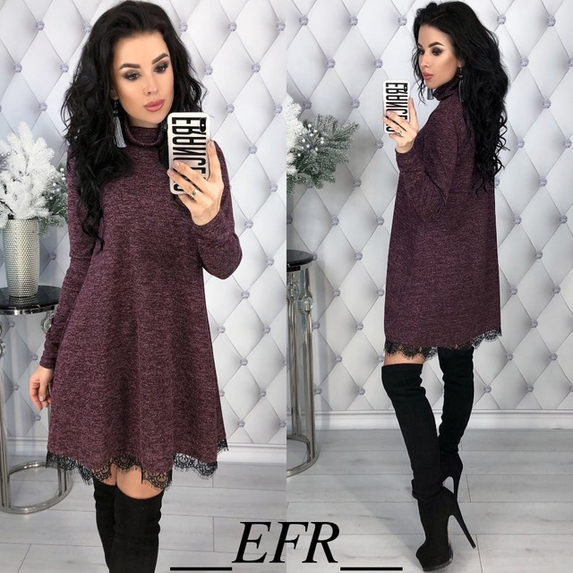 New Fashion Spring Winter Style Turtleneck Long Sleeve A-line Lace Hem Elegant Warm Dress Knitting Mini Vestidos Pluse Size 4