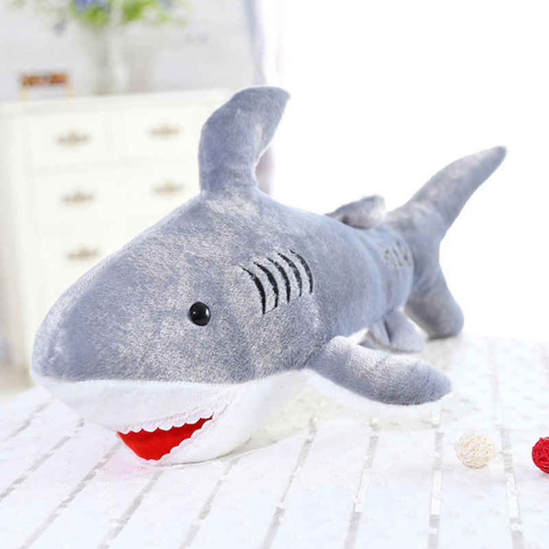 Cute 45cm Soft Giant Large Shark Plush Stuffed Fish Ocean Animals Kawaii Doll Cartoon Toy Plush Animals for Children Kids Gift