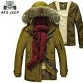 Men's Winter jacket AFS JEEP parka men brand warm thicken liner detachable mens parka outwear fur collar jacket cotton parkas