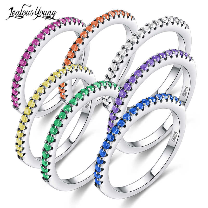 2018 New Fashion Multicolor Zirconia Party Women Engagement Ring With Silver Color Crystal Wedding Rings For Lady Jewelry Gift