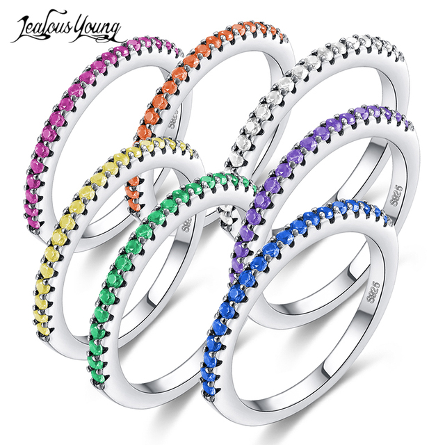 2018 New Fashion Multicolor Zirconia Party Women Engagement Ring With Silver Col