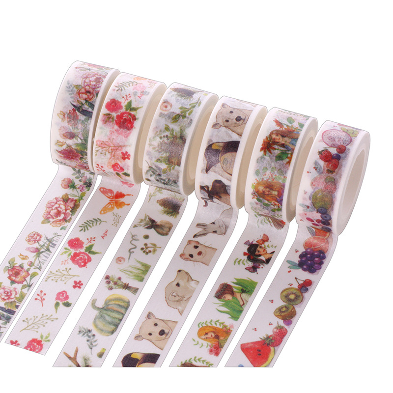 1 Pc Size 15 Mm*7m Diy Leaf Floral Cat Japanese Paper Washi Tapes/masking Tape/decorative Adhesive Tapes/school Supplies