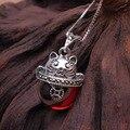 A estrenar el súper lindo lucky cat colgante de collar de mujer joyería de la vendimia 925 collar de plata con cadena