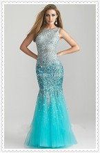 Free Shipping 2014 Fashion mermaid Crystal Evening Dresses Long Mermaid Bule Prom Sexy Back Party Gown Size Custom