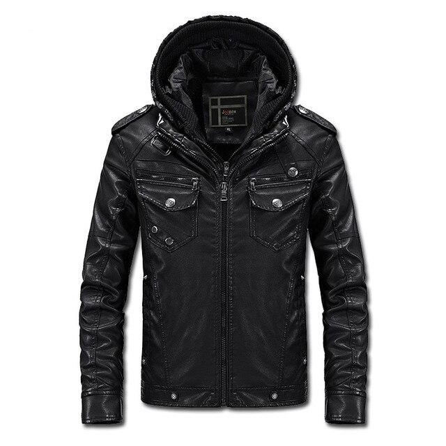 2016 Новые Поступления мужская повседневная Slim Fit мотоцикл кожаная куртка мужская одежда плюс бархат с капюшоном PU кожаная куртка пальто