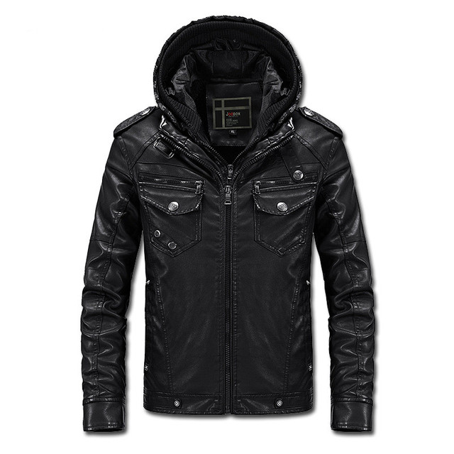 2016 New Arrivals men's casual Slim Fit motorcycle leather jacket men clothing plus velvet hooded PU leather jacket coats