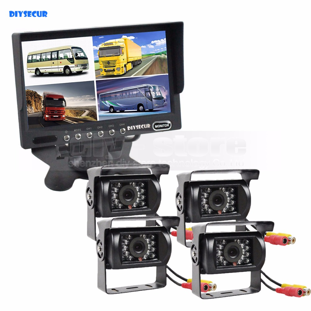 DIYSECUR 7inch 4 Split QUAD Rear View Monitor Car Monitor +4 X CCD IR Night Vision Rear View Camera Waterproof Monitoring System