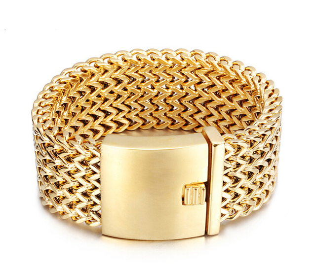 12 30MM Wide Heavy Men Fashion Mesh Bracelet Jewelry Gold boys 316L