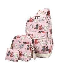 3 шт./компл. Товары для кошек печати Рюкзаки холст Школьные сумки для подростков Обувь для девочек милые школьные сумки Леди Bookbag Путешествия Рюкзак Mochila