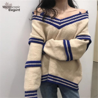New Spring Winter Broken Collar Off Shoulder Sweaters Lazy Leisure Knitted Tops Patchwork Personality Sweater