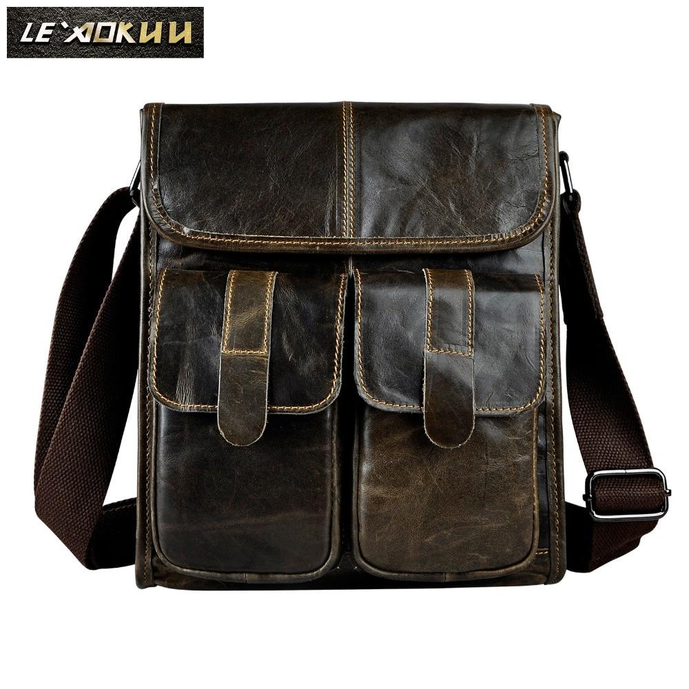 Real Leather Male Design One Shoulder Messenger bag cowhide fashion Cross-body Bag 10 Pad University School Book bag 009