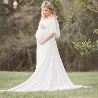 Lace Maternity Formal Dress Gown Wedding Party Dresses Pregnant Women Off Shoulder Lace Long Dress Maternity dresses 2018 New