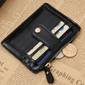 Fashion Men's Women's Leather ID Card Holder Bifold Slim Wallet Checkbook Billfold Mini Hasp Clutch Wallet Black