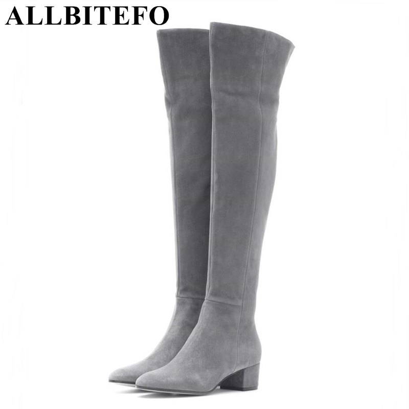 ALLBITEFO over the knee boots Nubuck leather medium heel women boots 4 colors winter boots thick heel snow boots size:33-43 900w 1l fog machine remote wire control fogger smoke machine dj bar party show stage machine