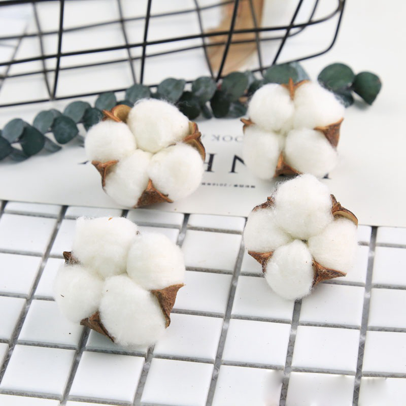 10pcs Cotton Head Artificial Flower Dried White Branch DIY Home Wedding Party Wreath Decoration