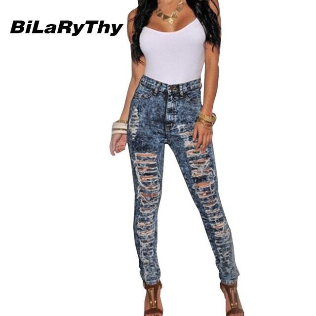 Venta Caliente de La Vendimia de Las Mujeres Ripped Jeans Moda Distroyed BiLaRyThy Agujeros Encuadre de cuerpo entero Flaco Denim Pantalones Lápiz Pantalones