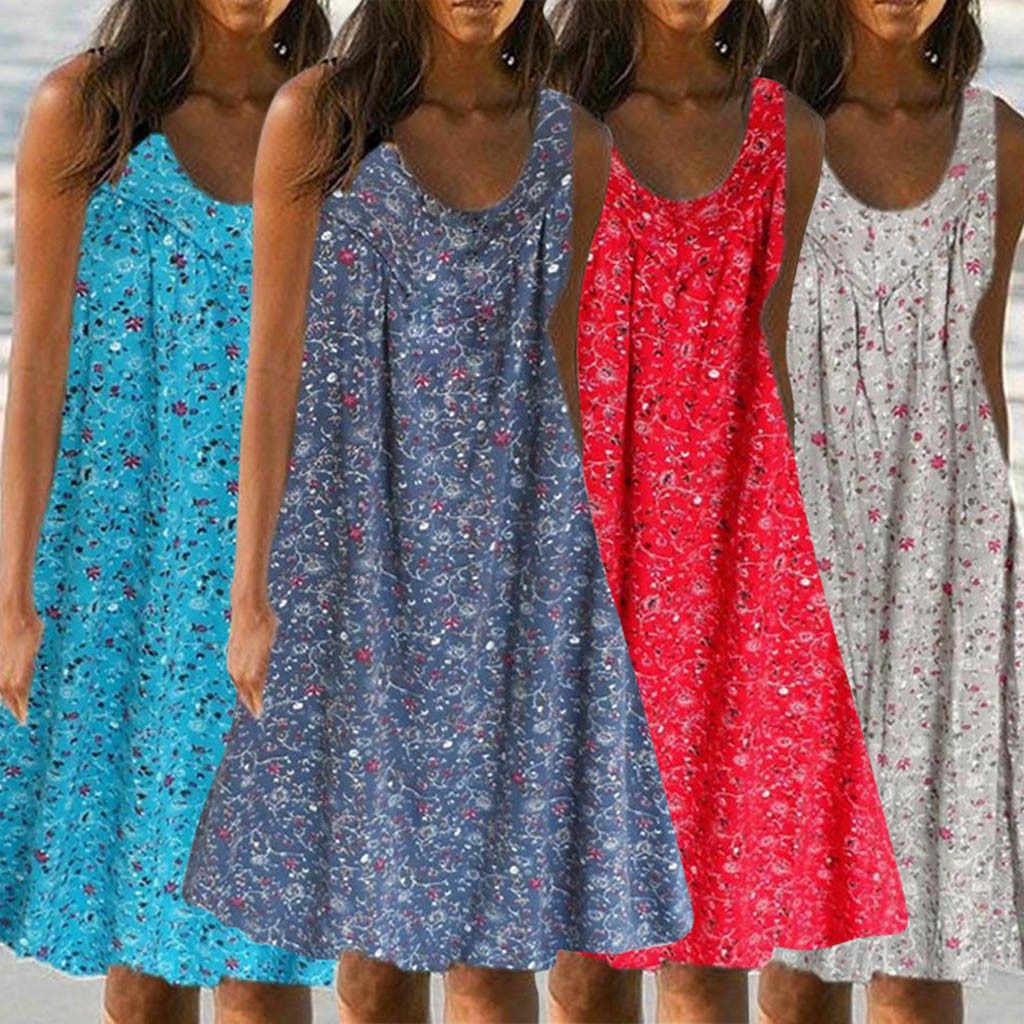 Женское платье без рукавов Пляжное Платье с принтом 2019| |