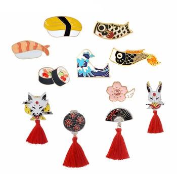 Коллекция булавок в японском стиле, суши Koi Ocean Wave Sakura Nigiri Kitsune, броши в стиле асиканского деко, подарки