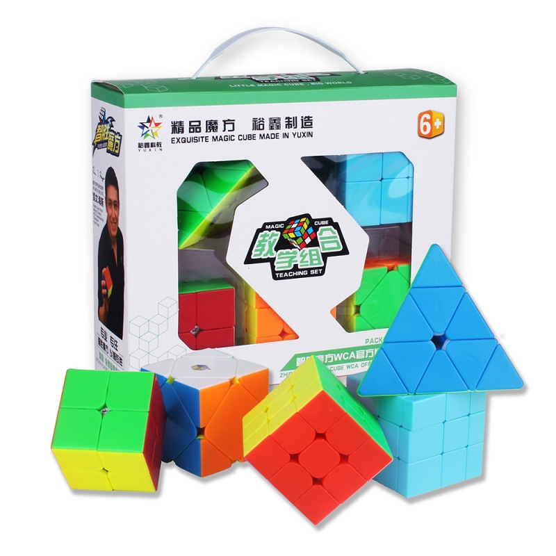 5pcs YUXIN ZHISHENG 2x2 3x3 Smooth Mirror Pyramid Ske Magic Cube Set Speed Puzzle Cube Professional Educational Toys Kids
