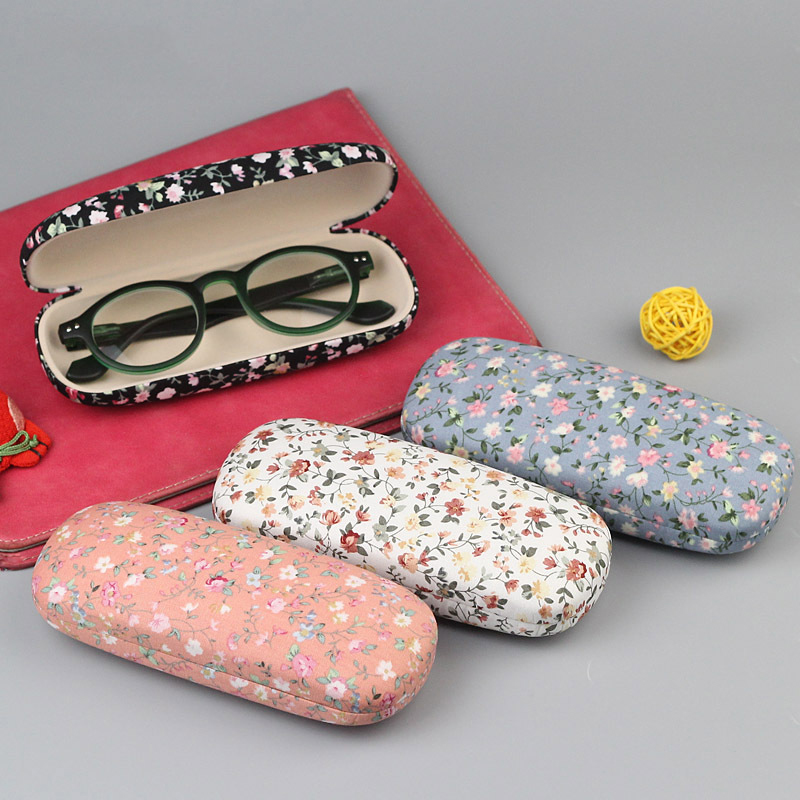 16 5 6 5 3 5 Glasses box Floral Printing Eyeglasses Sunglasses Hard Case Women Student Myopia Gafas Case Protector Holder Box in Eyewear Accessories from Apparel Accessories