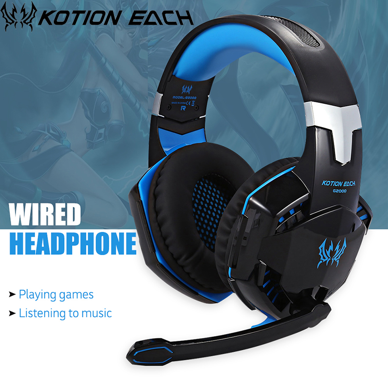 Kotion Each G2000 Casque Audio Gaming Headset Gamer Big Wired Earphone Luminous Headphone For Computer With Microphone Headfone kotion each g2000 gaming headset pc gamer headphones headphone for computer auriculares fone de ouvido with microphone led light