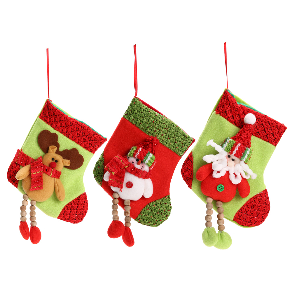 aliexpresscom buy christmas stocking small plaid santa claussnowmanreindeer sock gift bag xmas sack decoration candy bag christmas ornaments from - Small Christmas Stocking Decorations