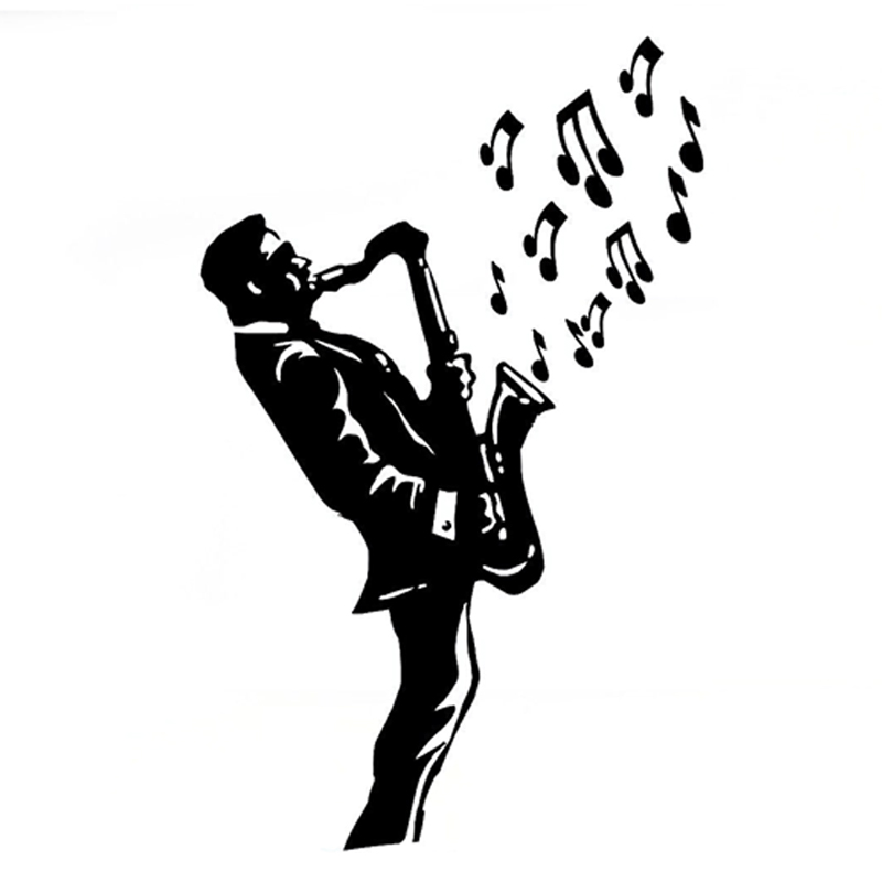 11CM*17.8CM Interesting Saxophone Music Jazz Vinyl Car Sticker Silhouette S9-0778
