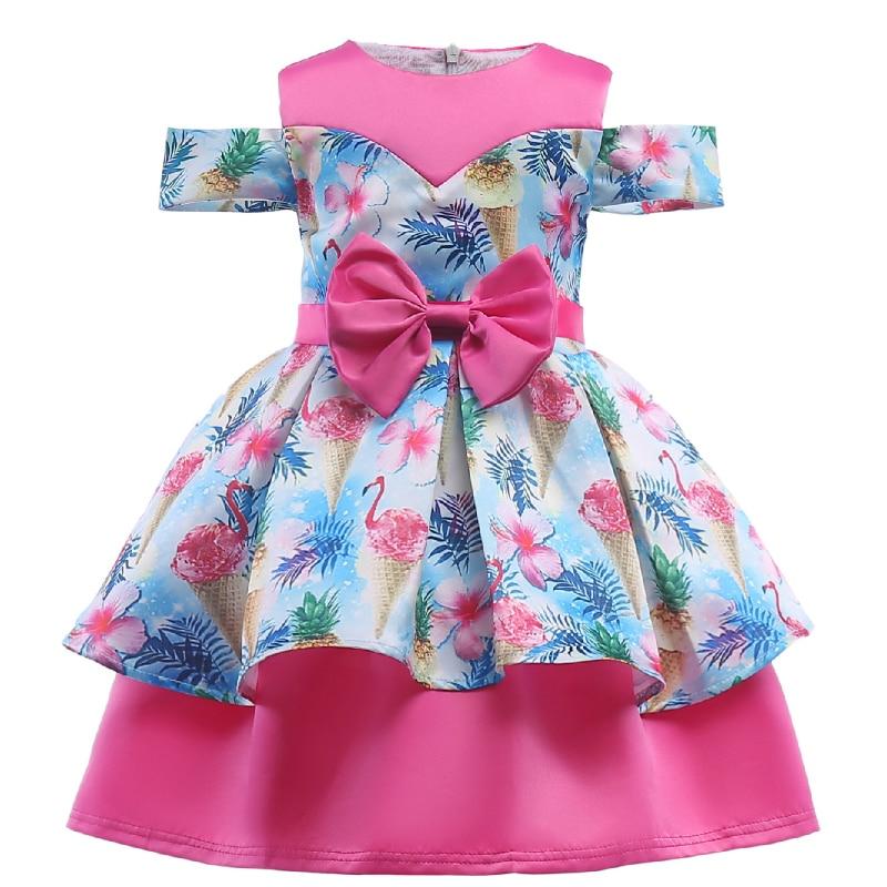 2018 New Flower Girl Dresses Flamingos Floral Unicorn Princess Dress for Wedding Party Birthday Costumes Baby Girl Dress Vestido