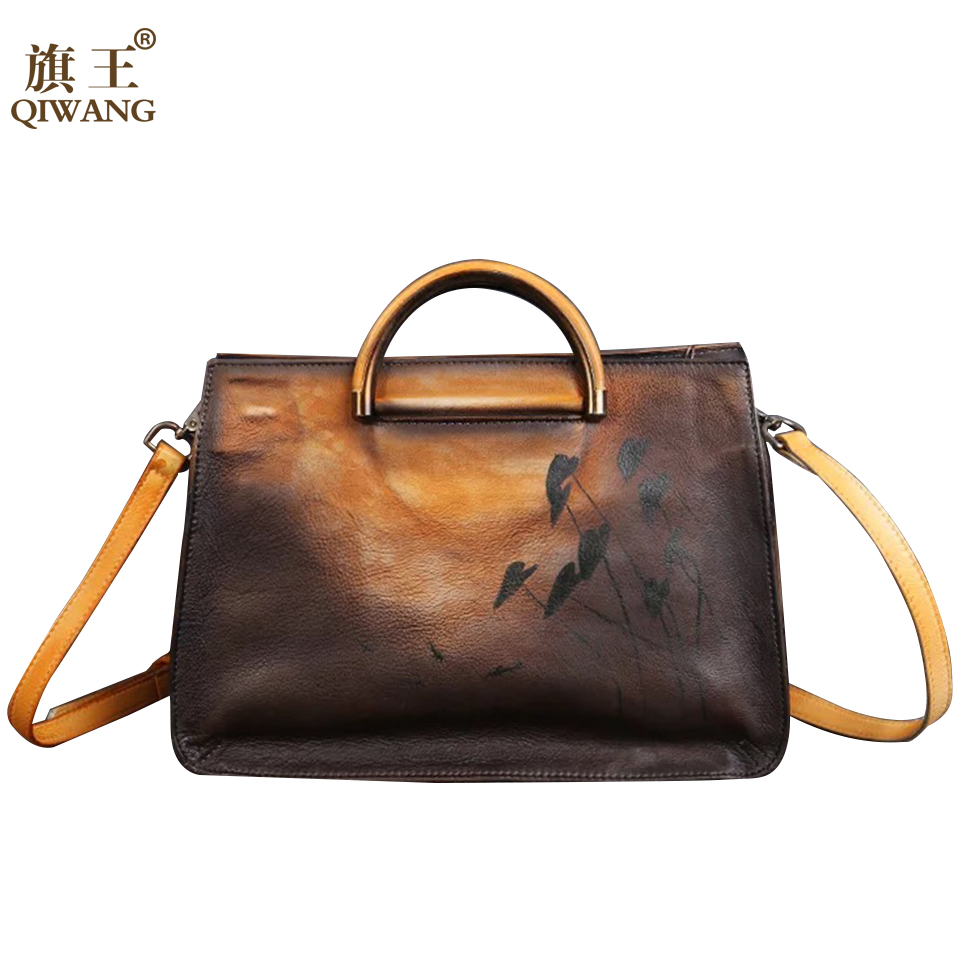 Women Handmade real leather bag high quality Women designer tote bag two color cow leather handbags for Fashion FemaleWomen Handmade real leather bag high quality Women designer tote bag two color cow leather handbags for Fashion Female