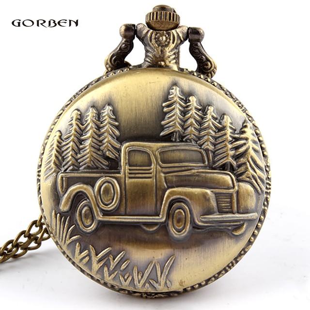 New Arrival Antique Car Truck Steampunk Quartz Pocket Watch Necklace Pendant Gif