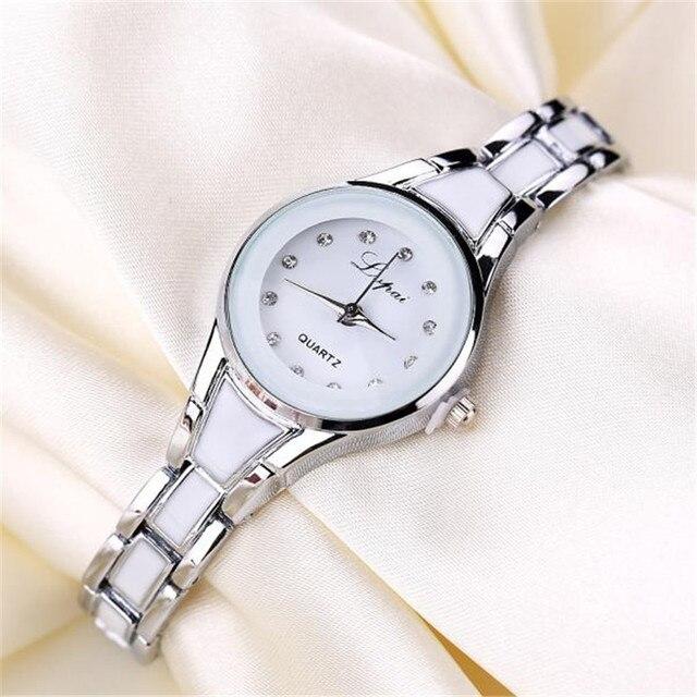 9c30fe7d7ca Relogio feminino Mulheres Relógios Pulseira Liga Cristal Mulheres Vestido  Relógios Dom Mulheres de Ouro Da Moda