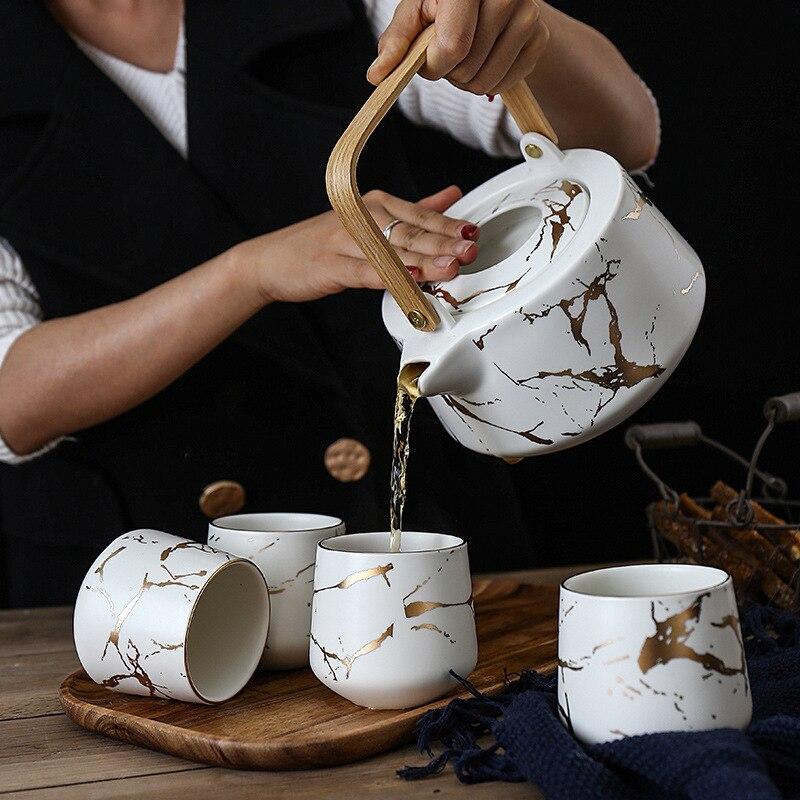 Nordic Style Teapot Set Creative Matte Handmade Ceramic Art Ins Tea Set Golden Marble Kettles 1