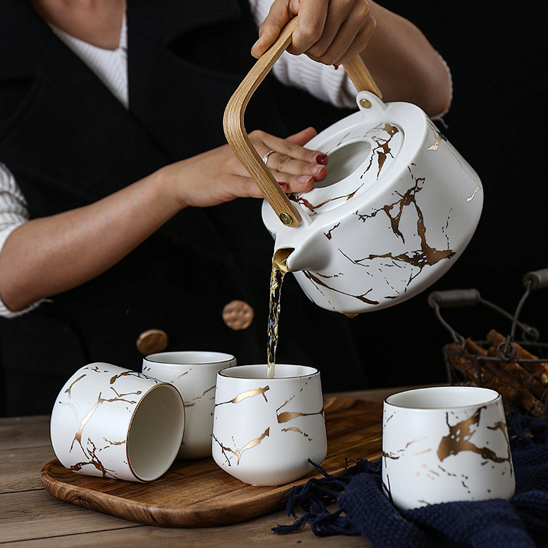 Nordic Style Teapot Set Creative Matte Handmade Ceramic Art Ins Tea Set Golden Marble Kettles 1 Pot 4 Cups with Wooden Trays