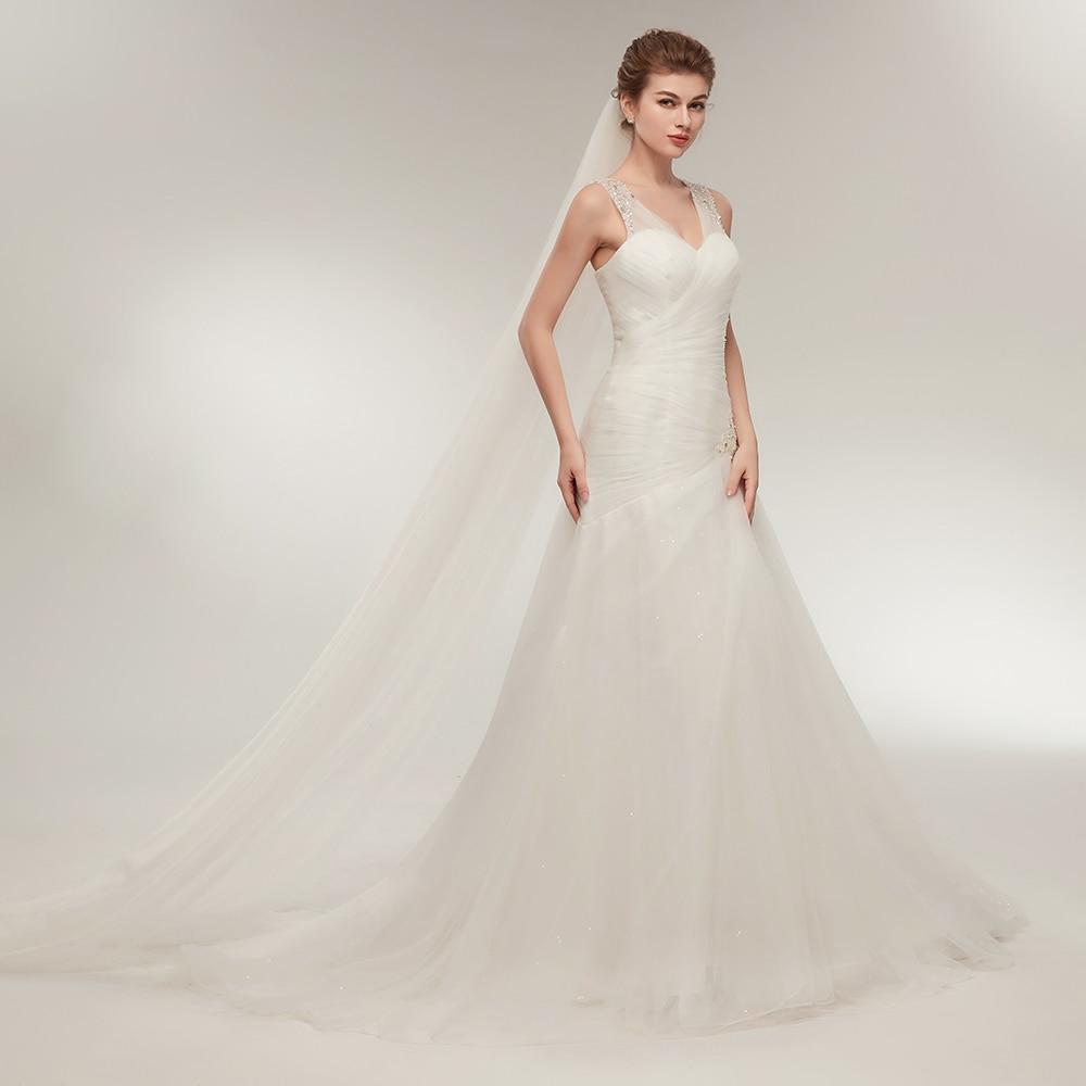 2018 Lihtne valge rand pulmakleit röstitud beaded naiste pruudi - Pulmakleidid