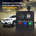 Car Boat Marine RV Caravan 3-Gang Switch Panel On/Off Rocker Switch with Voltmeter Dual USB Port Charging for Phones GPS Camera