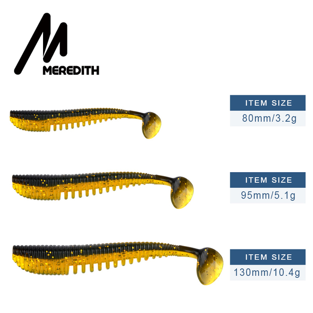 MEREDITH Awaruna Fishing Lures 8cm 9.5cm 13cm Artificial Baits Wobblers Soft Lures Shad Carp Silicone Fishing Soft Baits Tackle 2