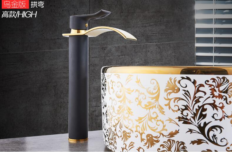 HTB15TgaX5OYBuNjSsD4q6zSkFXam Basin Faucet Gold and white Waterfall Faucet Brass Bathroom Faucet Bathroom Basin Faucet Mixer Tap Hot and Cold Sink faucet