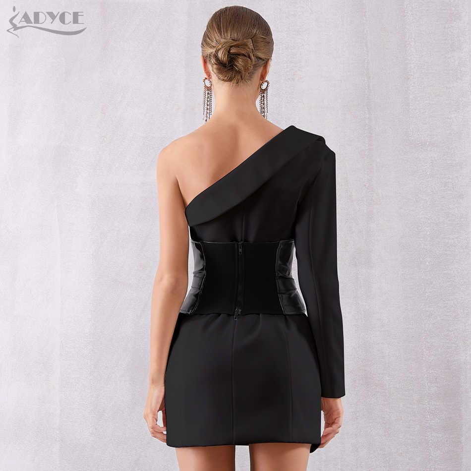 Женское вечернее платье ADYCE, белое и черное облегающее платье на один рукав, с V-образным вырезом и поясом, в стиле звезд, для клуба, для осень, 2019