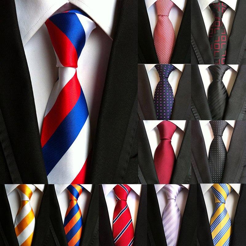 2 Inch Classic Business Striped Men Ties Stripe Jacquard Woven Tie Silk Necktie