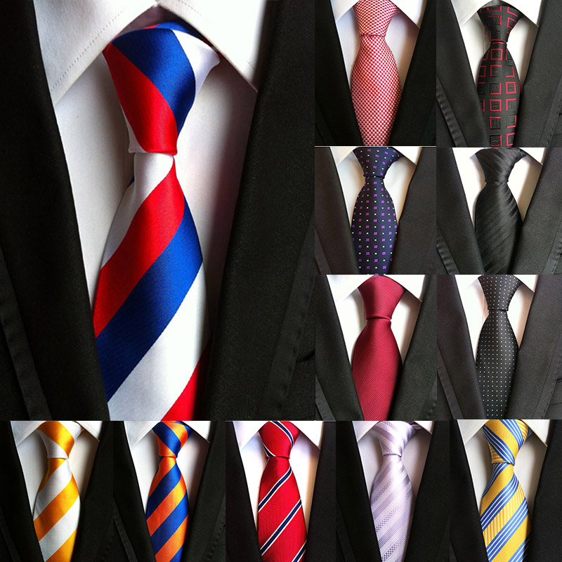 Fashion New Silk 8cm Men's Tie Formal Business Executive Tie Stripes Classic Neckties For Men Wedding Party Gifts For Men