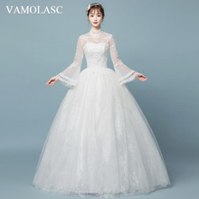 VAMOLASC Illusion High Neck Ball Gown Lace Appliques Wedding Dresses Flare Long Sleeve Backless Bridal Gowns