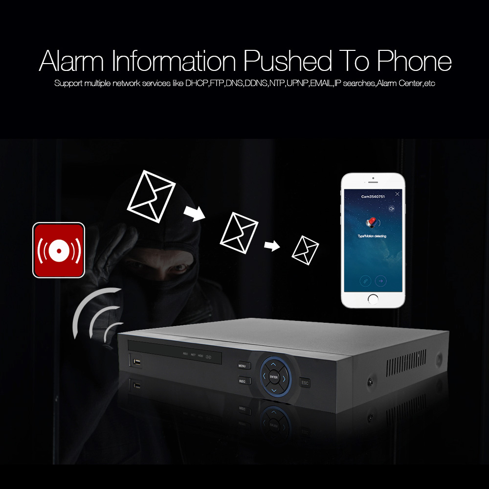 H.265 32Ch NVR 1080P Or 25Ch 5MP Or 8CH 8MP NVR ONVIF Network Recorder Support For Security IP Camera 2x HDD XMeye P2P APP View