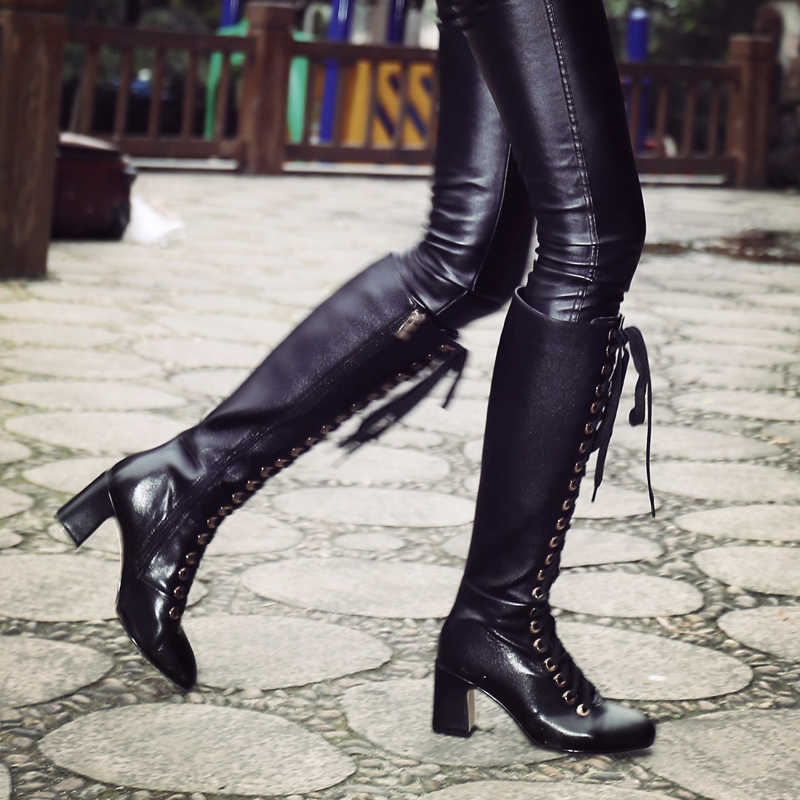 1323d08ae0e ... Gdgydh 2018 New Fashion Lacing Winter Knee High Boots Women High Heel  Woman Rubber Sole Leather ...