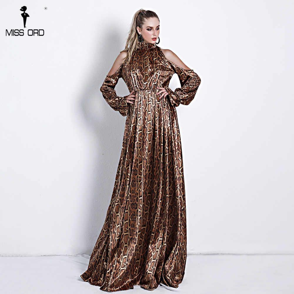ac63635341ff ... Missord 2019 Sexy High Neck Off Shoulder Long Sleeve Dresses Female  Snake Print High Split Maxi ...