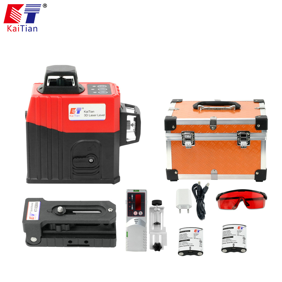 KaiTian 12 Lines 3D Laser Level Receiver Self-Leveling 360 Horizontal 650nm Vertical Cross Livello Lasers Beam Line Levels Tools 2 lines laser level self leveling horizontal vertical cross line mini laser 110 degree levels instrument tools 1h1v laser beam